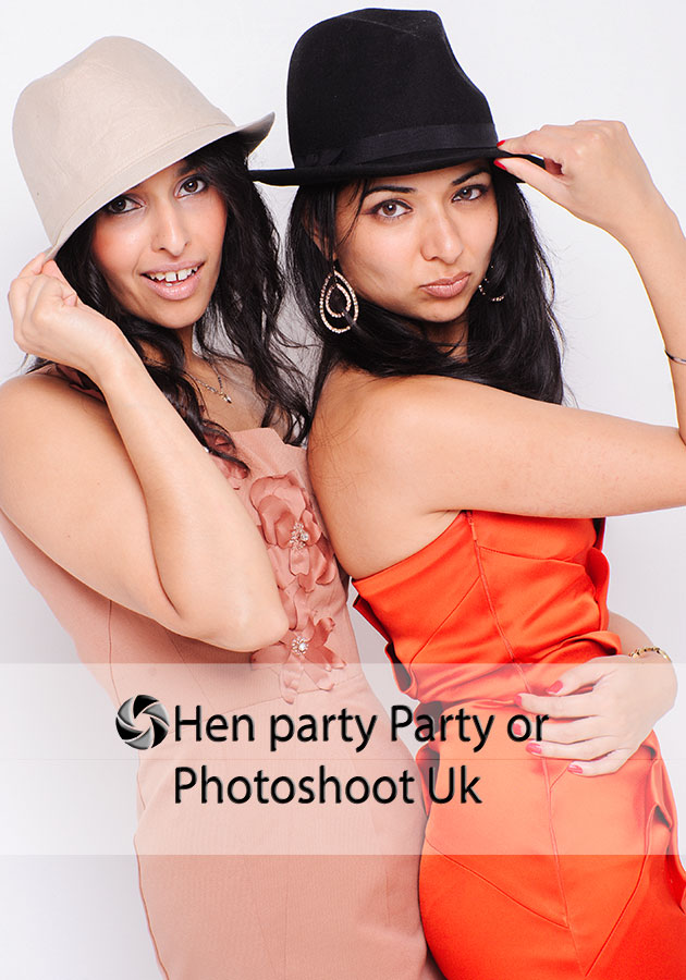 Photo shoot hen party or pamper hen party,two girls posing at their hen do in Lichfield Staffordshire UK
